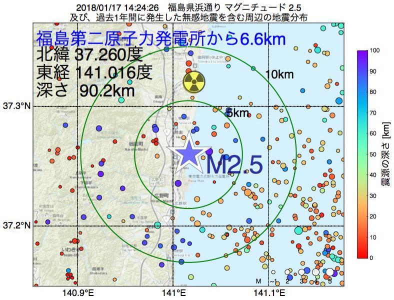 地震震源マップ:福島第二原子力発電所から6.6km地点でM2.5の地震が発生しました