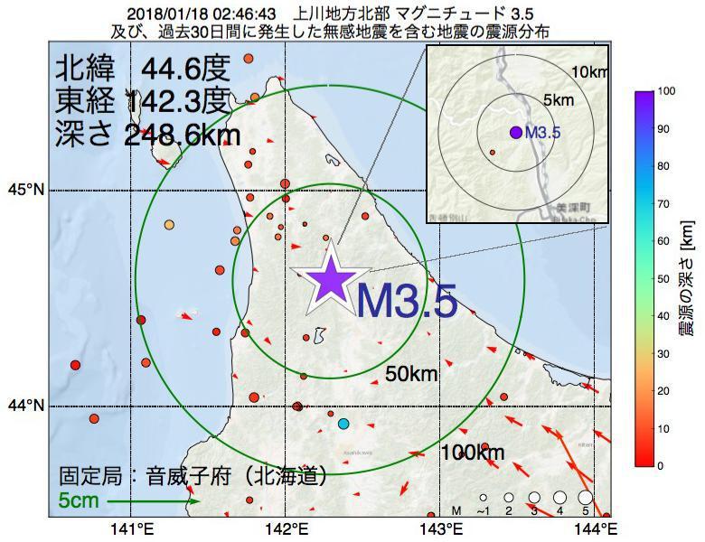 地震震源マップ:2018年01月18日 02時46分 上川地方北部でM3.5の地震