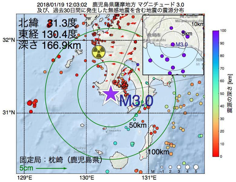 地震震源マップ:2018年01月19日 12時03分 鹿児島県薩摩地方でM3.0の地震