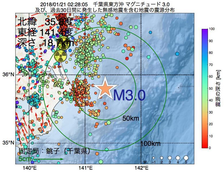 地震震源マップ:2018年01月21日 02時28分 千葉県東方沖でM3.0の地震