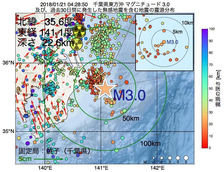 地震震源マップ:2018年01月21日 04時28分 千葉県東方沖でM3.0の地震
