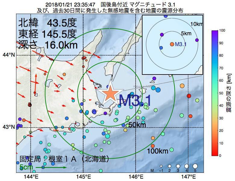 地震震源マップ:2018年01月21日 23時35分 国後島付近でM3.1の地震