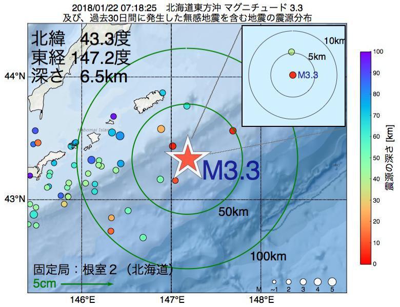 地震震源マップ:2018年01月22日 07時18分 北海道東方沖でM3.3の地震