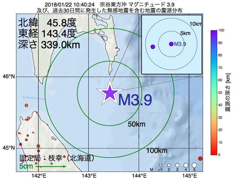 地震震源マップ:2018年01月22日 10時40分 宗谷東方沖でM3.9の地震