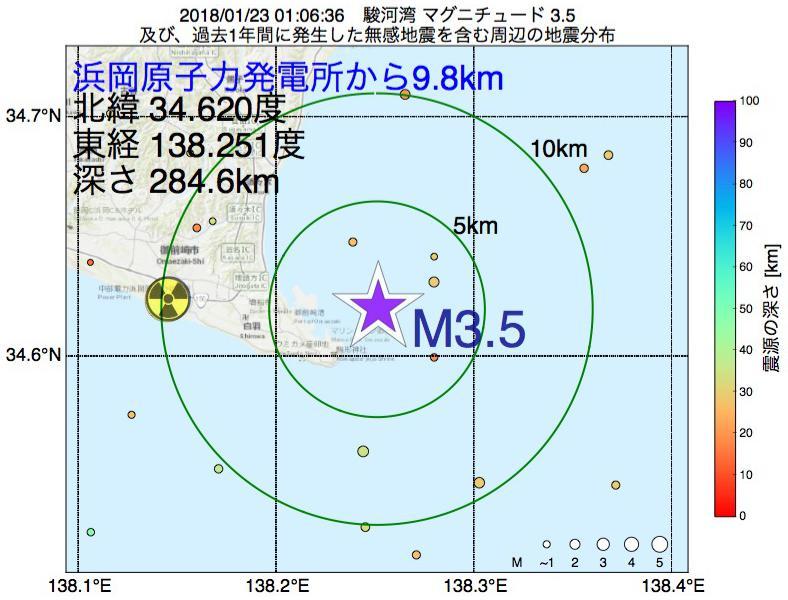 地震震源マップ:浜岡原子力発電所から9.8km地点でM3.5の地震が発生しました