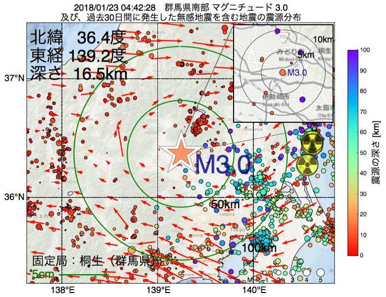 地震震源マップ:2018年01月23日 04時42分 群馬県南部でM3.0の地震