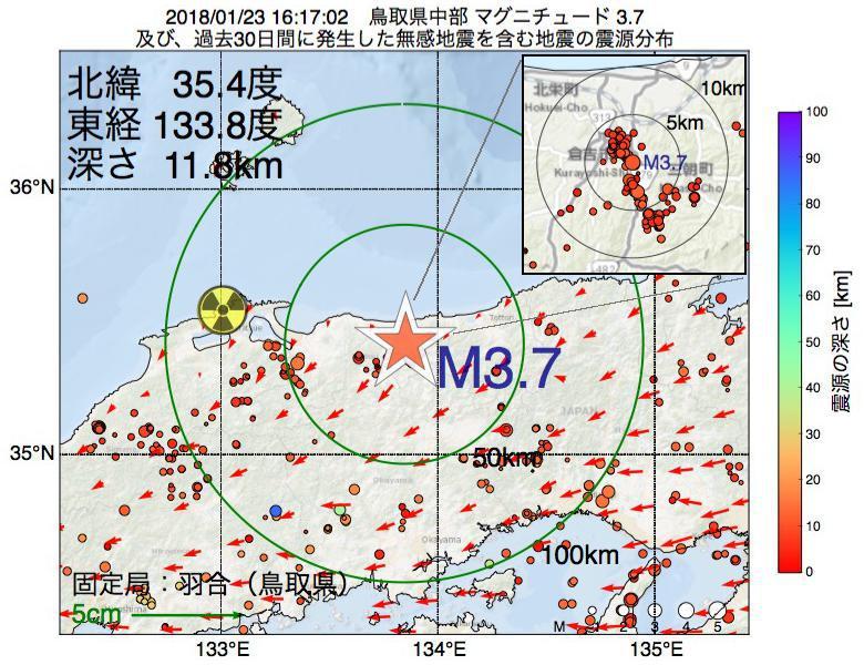 地震震源マップ:2018年01月23日 16時17分 鳥取県中部でM3.7の地震