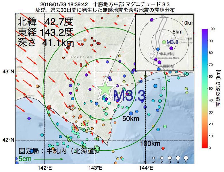 地震震源マップ:2018年01月23日 18時39分 十勝地方中部でM3.3の地震