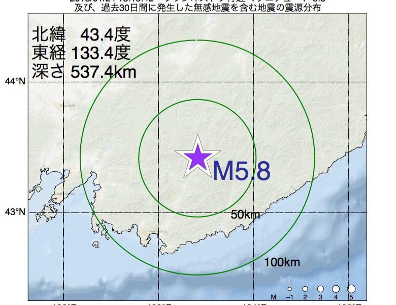 地震震源マップ:2018年01月24日 15時15分 ウラジオストク付近でM5.8の地震