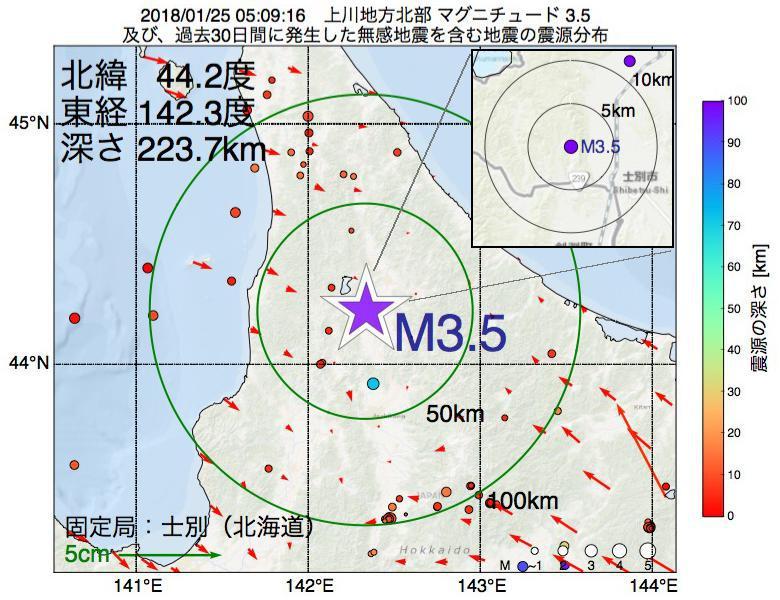 地震震源マップ:2018年01月25日 05時09分 上川地方北部でM3.5の地震