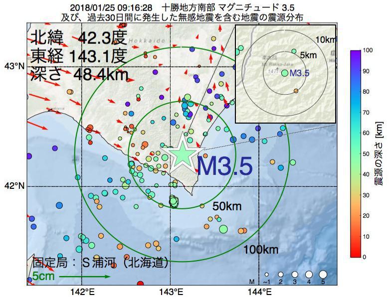 地震震源マップ:2018年01月25日 09時16分 十勝地方南部でM3.5の地震