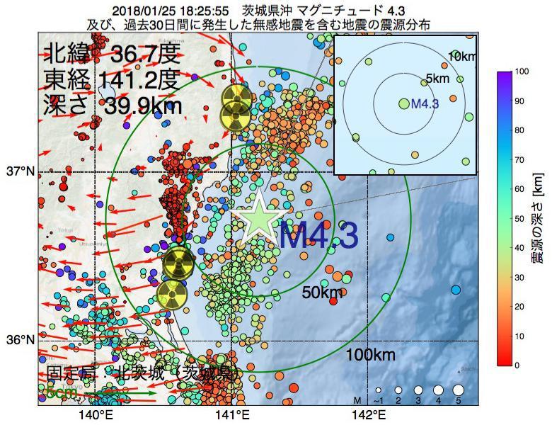 地震震源マップ:2018年01月25日 18時25分 茨城県沖でM4.3の地震