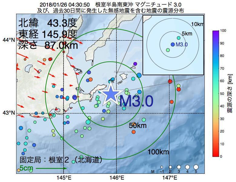地震震源マップ:2018年01月26日 04時30分 根室半島南東沖でM3.0の地震