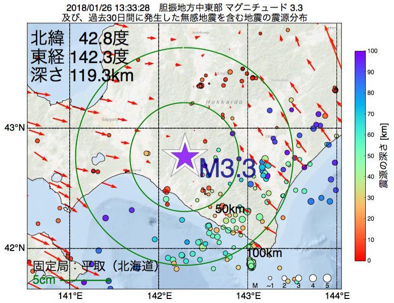 地震震源マップ:2018年01月26日 13時33分 胆振地方中東部でM3.3の地震
