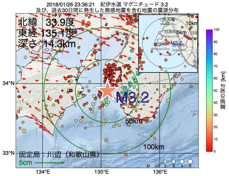 地震震源マップ:2018年01月26日 23時36分 紀伊水道でM3.2の地震