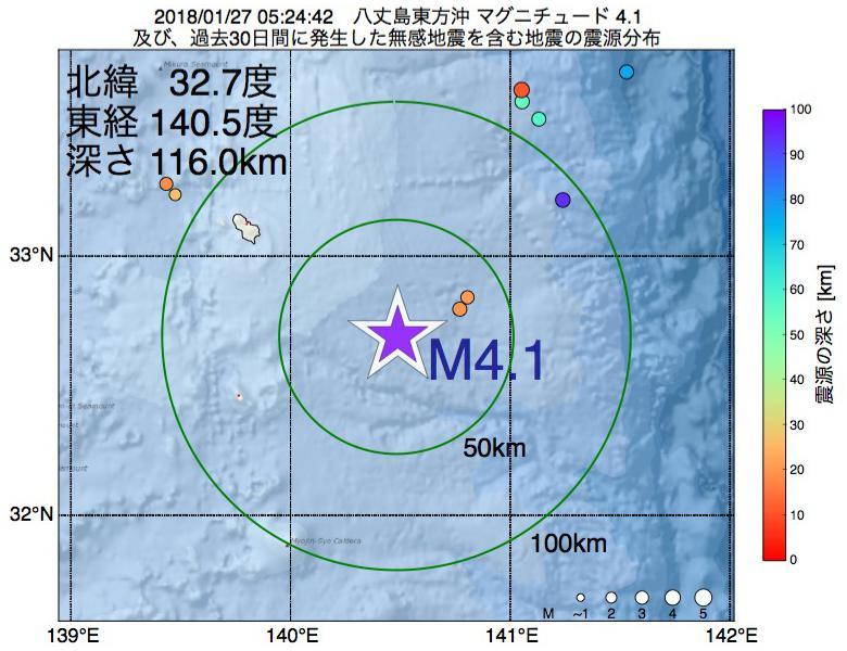 地震震源マップ:2018年01月27日 05時24分 八丈島東方沖でM4.1の地震
