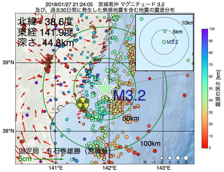 地震震源マップ:2018年01月27日 21時24分 宮城県沖でM3.2の地震