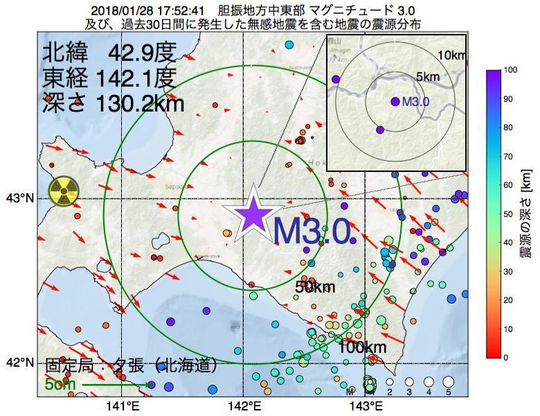 地震震源マップ:2018年01月28日 17時52分 胆振地方中東部でM3.0の地震