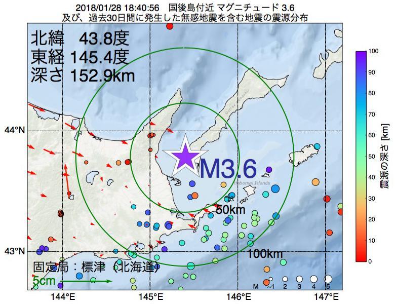 地震震源マップ:2018年01月28日 18時40分 国後島付近でM3.6の地震