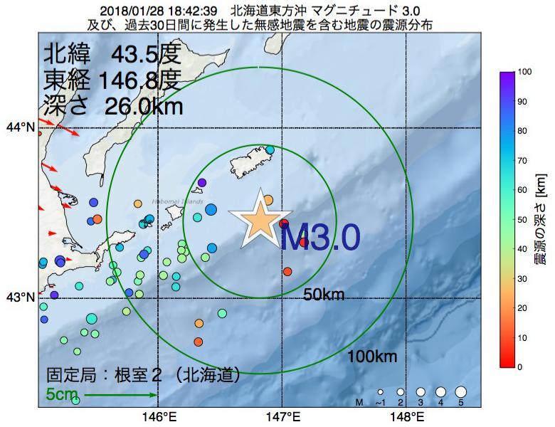 地震震源マップ:2018年01月28日 18時42分 北海道東方沖でM3.0の地震