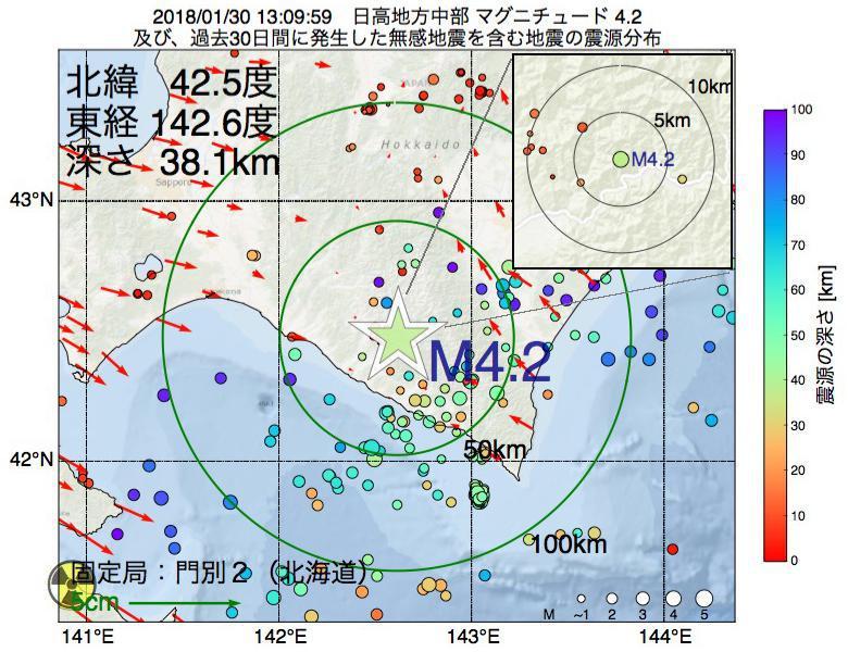地震震源マップ:2018年01月30日 13時09分 日高地方中部でM4.2の地震