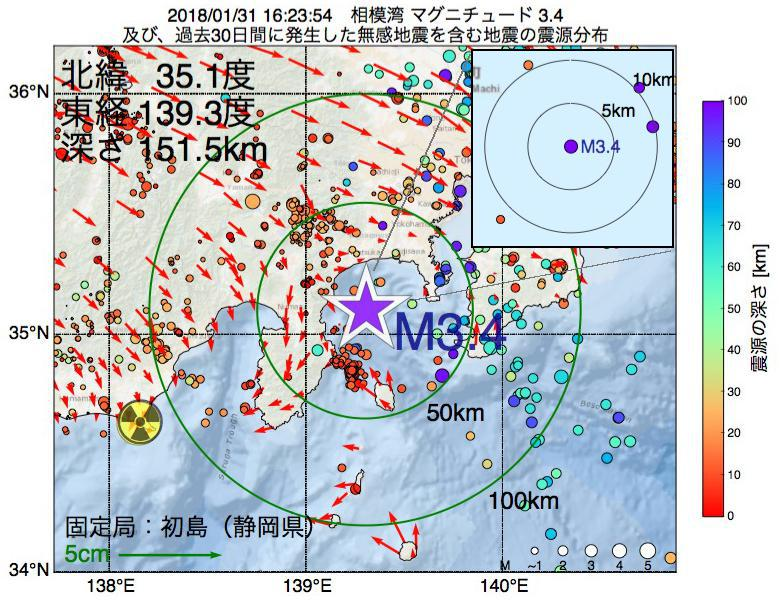 地震震源マップ:2018年01月31日 16時23分 相模湾でM3.4の地震