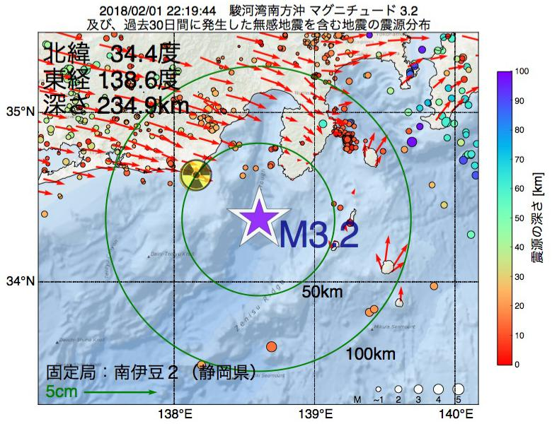 地震震源マップ:2018年02月01日 22時19分 駿河湾南方沖でM3.2の地震