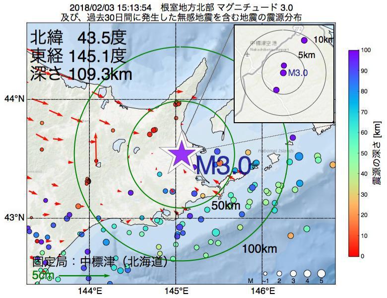 地震震源マップ:2018年02月03日 15時13分 根室地方北部でM3.0の地震