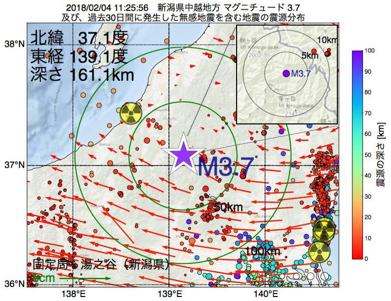 地震震源マップ:2018年02月04日 11時25分 新潟県中越地方でM3.7の地震