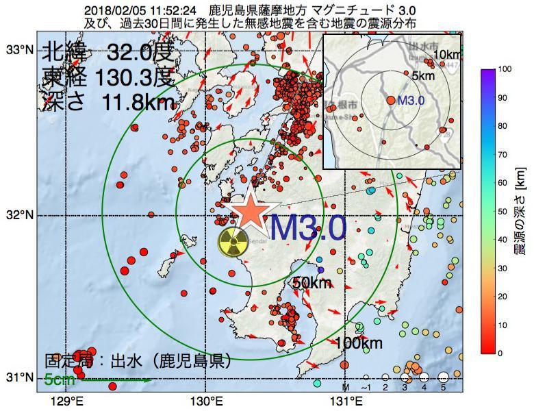 地震震源マップ:2018年02月05日 11時52分 鹿児島県薩摩地方でM3.0の地震