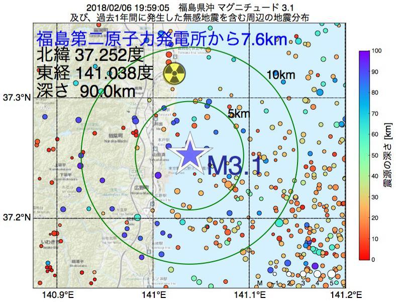 地震震源マップ:福島第二原子力発電所から7.6km地点でM3.1の地震が発生しました