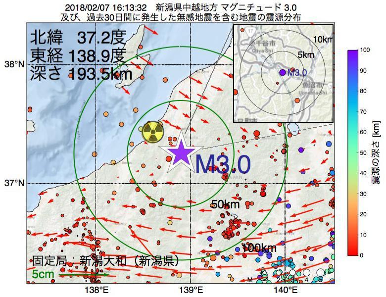 地震震源マップ:2018年02月07日 16時13分 新潟県中越地方でM3.0の地震