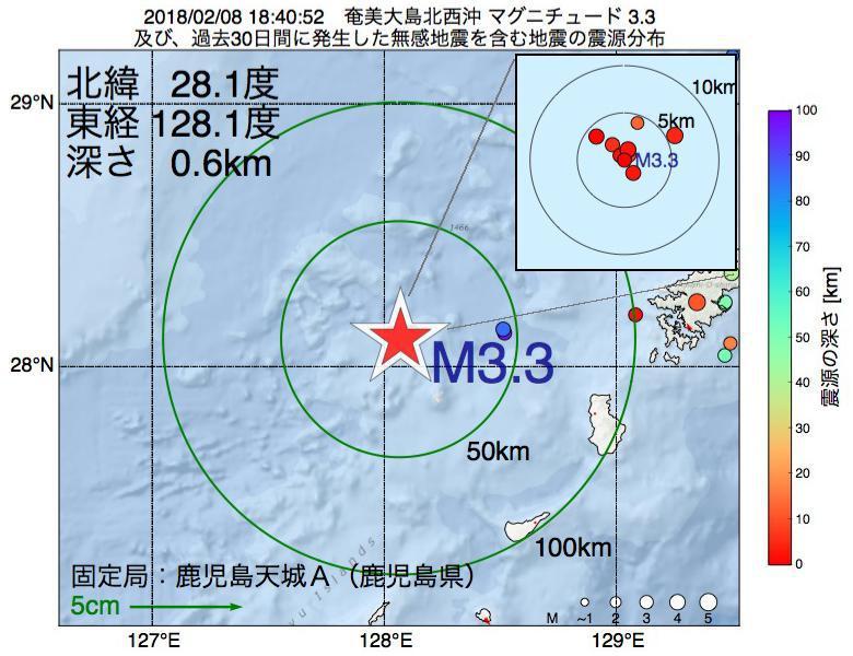 地震震源マップ:2018年02月08日 18時40分 奄美大島北西沖でM3.3の地震