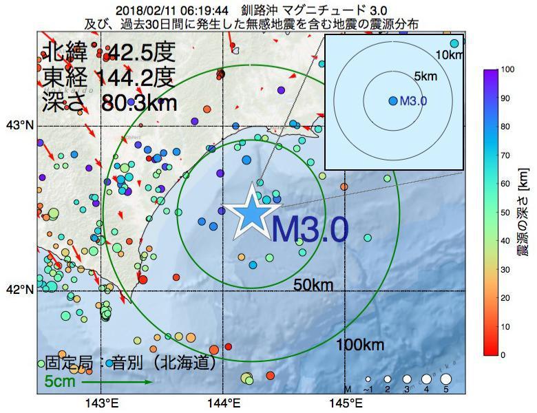 地震震源マップ:2018年02月11日 06時19分 釧路沖でM3.0の地震