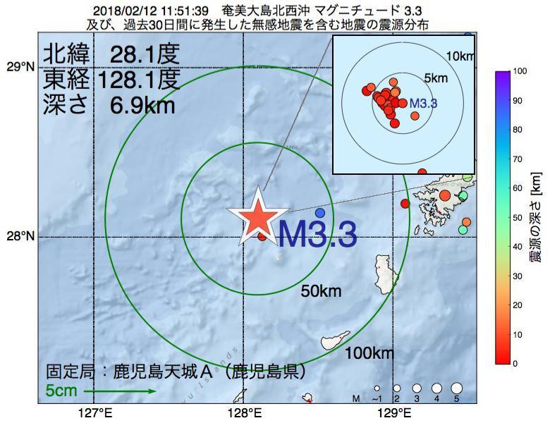 地震震源マップ:2018年02月12日 11時51分 奄美大島北西沖でM3.3の地震