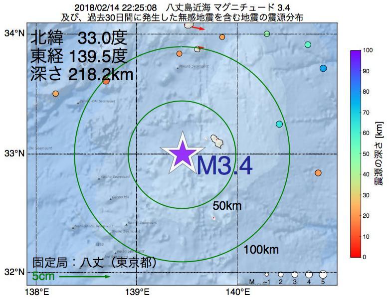地震震源マップ:2018年02月14日 22時25分 八丈島近海でM3.4の地震