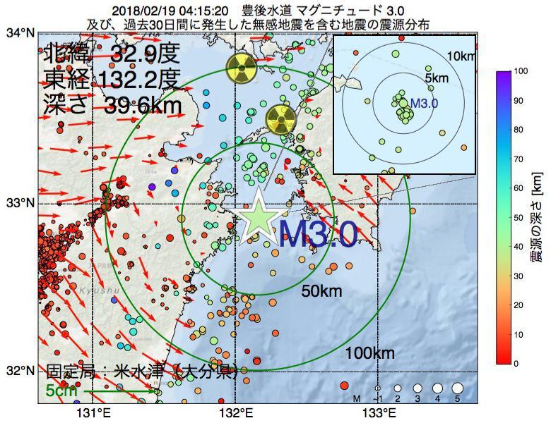地震震源マップ:2018年02月19日 04時15分 豊後水道でM3.0の地震