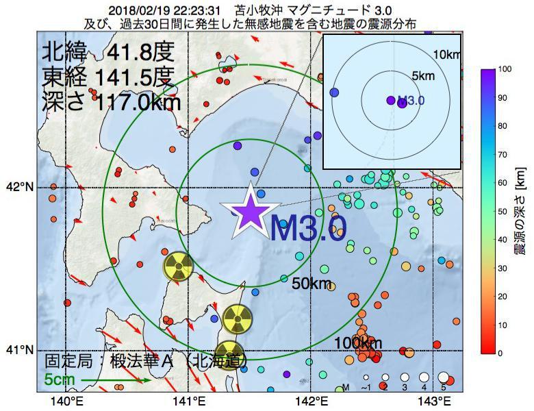 地震震源マップ:2018年02月19日 22時23分 苫小牧沖でM3.0の地震