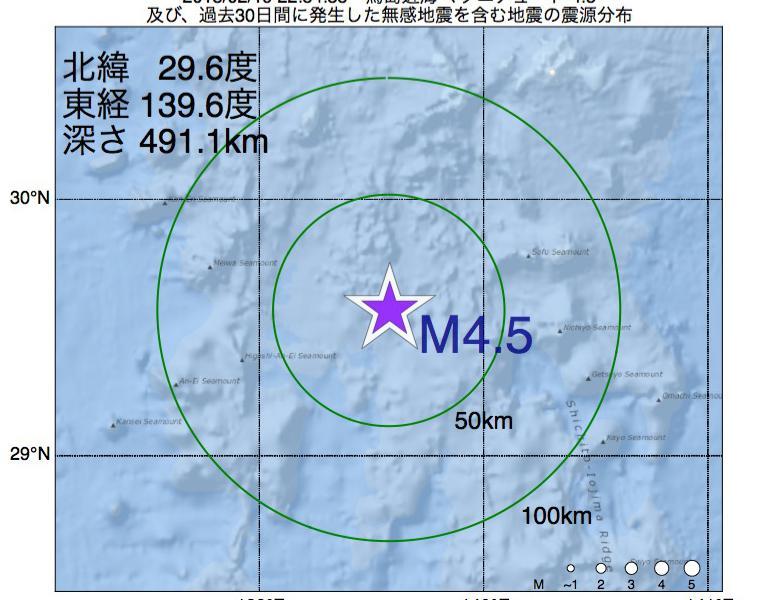 地震震源マップ:2018年02月19日 22時54分 鳥島近海でM4.5の地震