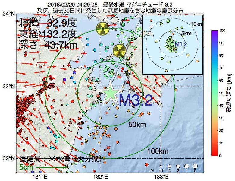 地震震源マップ:2018年02月20日 04時29分 豊後水道でM3.2の地震