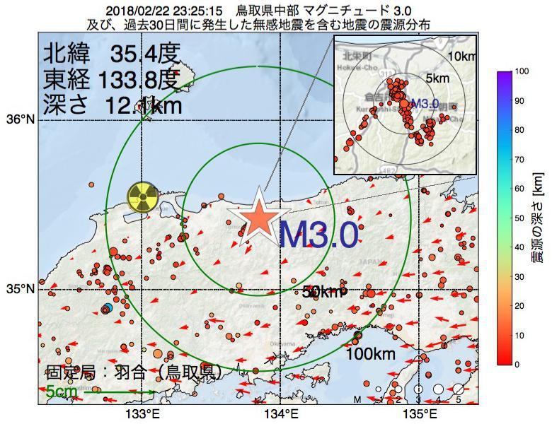 地震震源マップ:2018年02月22日 23時25分 鳥取県中部でM3.0の地震