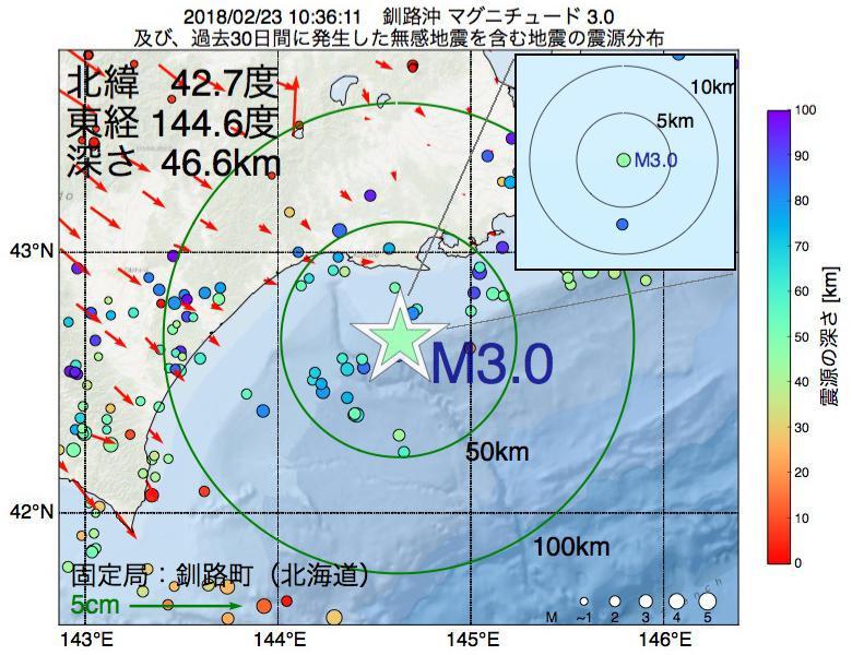 地震震源マップ:2018年02月23日 10時36分 釧路沖でM3.0の地震