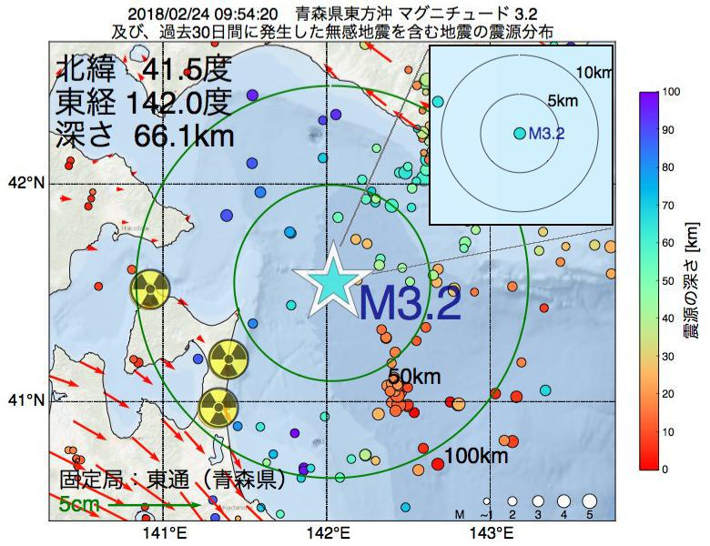 地震震源マップ:2018年02月24日 09時54分 青森県東方沖でM3.2の地震