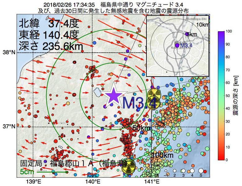 地震震源マップ:2018年02月26日 17時34分 福島県中通りでM3.4の地震