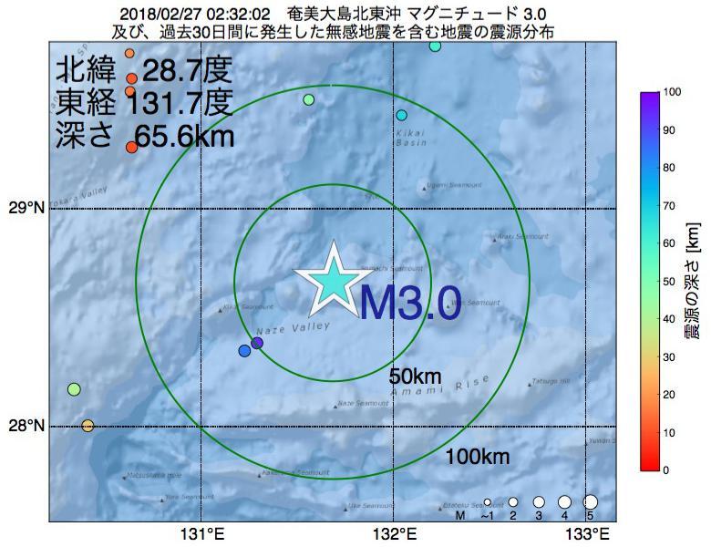 地震震源マップ:2018年02月27日 02時32分 奄美大島北東沖でM3.0の地震
