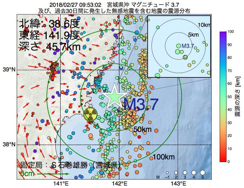 地震震源マップ:2018年02月27日 09時53分 宮城県沖でM3.7の地震