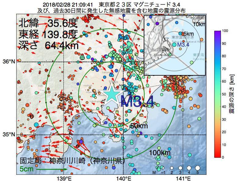 地震震源マップ:2018年02月28日 21時09分 東京都23区でM3.4の地震