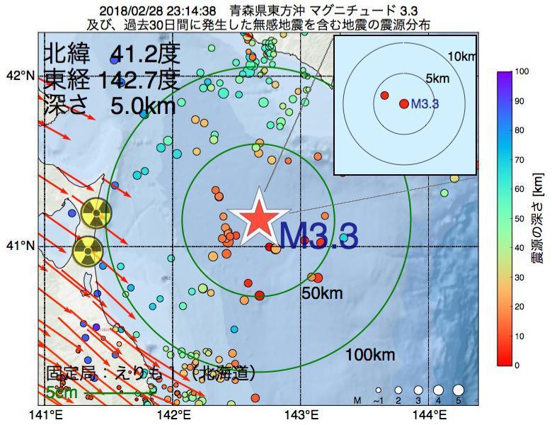 地震震源マップ:2018年02月28日 23時14分 青森県東方沖でM3.3の地震