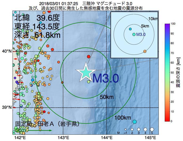 地震震源マップ:2018年03月01日 01時37分 三陸沖でM3.0の地震