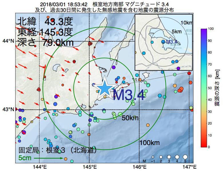 地震震源マップ:2018年03月01日 18時53分 根室地方南部でM3.4の地震